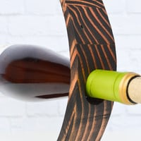 Boomerang 87, an ebony/black stained wood gravity wine bottle holder, recycled wood wine display, great gift idea!