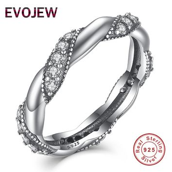 Splendor European Style Ribbon With Clear Cubic Zirconia 925 Sterling Silver Rings For Women Engagement Fashion Jewelry