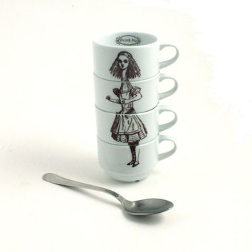 Alice in Wonderland 4 Espresso Cups Porcelain Drink Me Whimsical Literature English Stacking
