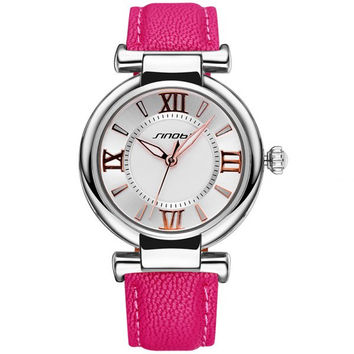 SINOBI 2672 Women Japan Quartz Watch PU Leather Strap