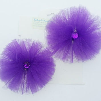 Gem Tulle Hair Bow Set- Purple- Ready to Ship