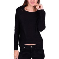 Casual Long Sleeve Round Neck Hi-Low Hem Knit Sweater Knitwear Top