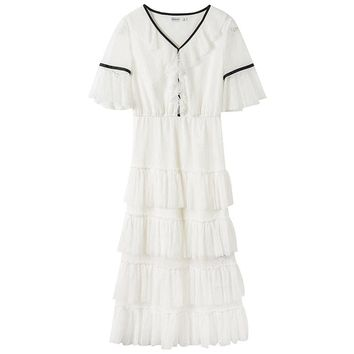 NO.1 DARA Summer Korean Splicing Pleated Tulle Tshirt Dress Women lace spliced Big Size white Color Clothes Office party dresses
