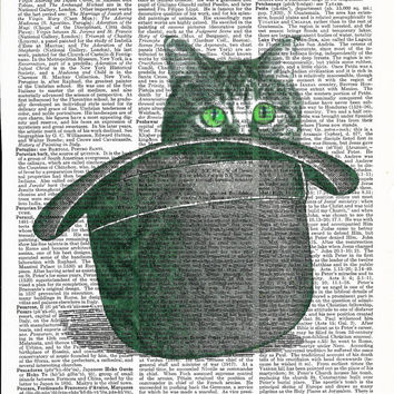 Dictionary Art  Cat  in Hat  Vintage Upcycle Book Page Print Art Print Dictionary Print Collage Print