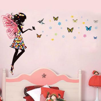 Flowers Butterflies cartoon princess fantasy colorful butterfly pattern wall stickers for girls room home art decor decals