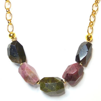OOAK faceted Watermelon Tourmaline nugget necklace, 65 carats of beautiful gemstones, nugget jewelry,October birthstone, stone for a Libra