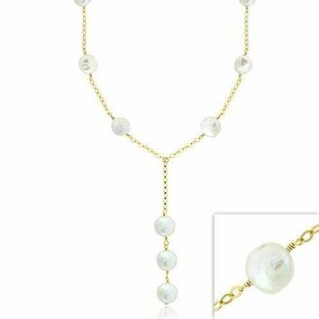 18K Gold over Sterling Silver Freshwater Cultured White Coin Pearl Y Necklace
