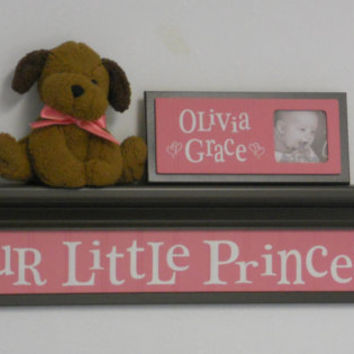 "Baby Girl Nursery Shelves - OUR LITTLE PRINCESS Sign on 30"" Chocolate Brown Shelf with Pink Nursery Wall Decorations"