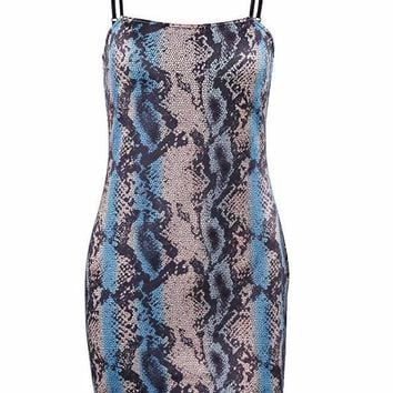 Blue Snakeskin Body Con Mini Dress