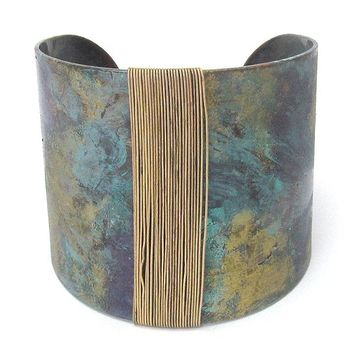Wire Wrap Wide Metal Bangle Bracelet