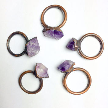 Raw amethyst ring | Amethyst crystal ring | Purple amethyst and copper ring | Raw crystal jewelry | Raw amethyst crystal statement ring