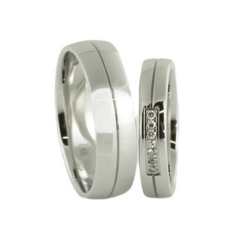 14 K White Gold clean wedding bands sets W diamond