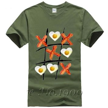 Tic Tac Toe Bacon And Egg T-Shirts - Men's Crew Neck Novelty Tee
