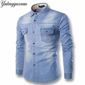 2017 Full Solid Regular Selling Yutongyuxuan Light Denim Shirt Men 100% Cotton Thick Male Long Sleeve Cool Brand Clothing M-6xl