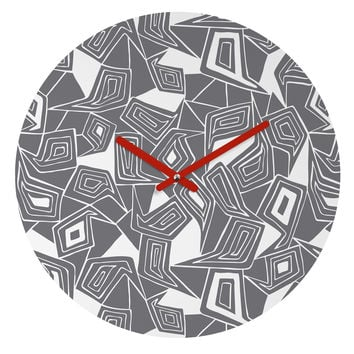 Heather Dutton Fragmented Grey Round Clock