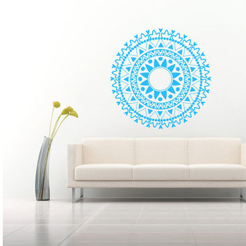 Wall Decal Vinyl Sticker Decals Art Home Decor Mural Mandala Ornament Indian Geometric Moroccan Pattern Yoga Namaste Lotus Flower Om AN266