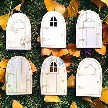 10pcs/Lot  DIY Wood Door Laser Cutting Crafts Blank Plaque Decoupage Home Decorations Art Wedding
