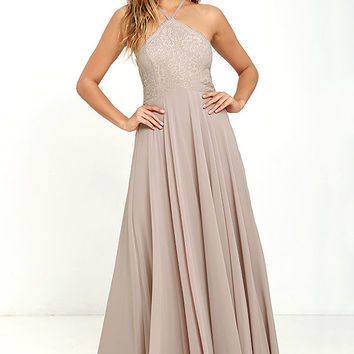 Everlasting Enchantment Taupe Maxi Dress