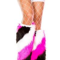 Pink, Black and White Furry Leg Warmers