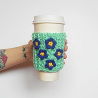 Forget-Me-Not Coffee Cozy in Mint, ready to ship.