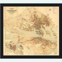 Old Map of Stockholm Lundgren, Sweden 1885 Antique Vintage