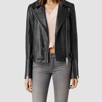 Womens Ayers Leather Biker Jacket (Black) | ALLSAINTS.com
