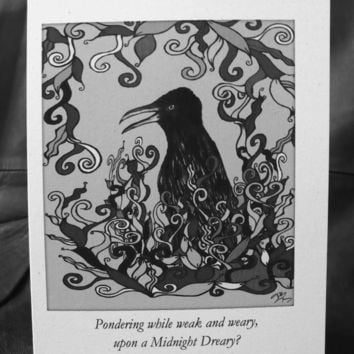 Alternative / Goth - The Raven Edgar Allen Poe Inspired - Blank Greeting Card w / envelope - Recycled Paper - IntricateKnot