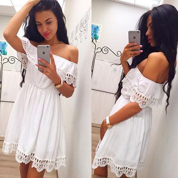 Elegant Vintage sweet lace white Dress Stylish Sexy Slash Neck Casual Slim Beach Autumn Summer Sundress vestidos