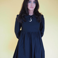 Black Peter Pan Collar Witchy Baby Doll Dress