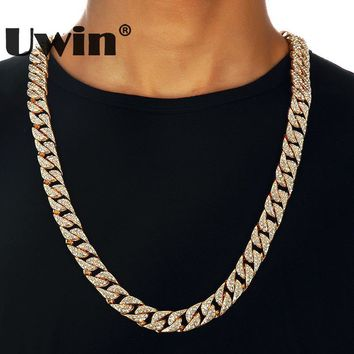 Uwin Hip Hop Bling Thick Miami Cuban Link Chian Necklace Full Iced Out Rhinestones Long Gold&Silver Color Necklace Men Jewelry