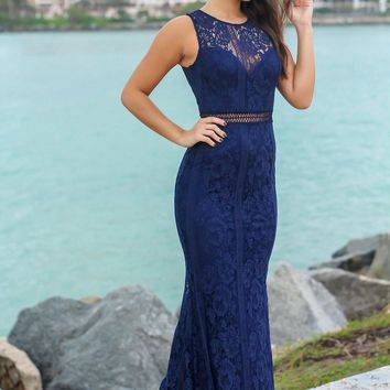 Navy High Neck Lace Maxi Dress