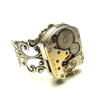steampunk watch movement ring- adjustable-victorian rings - handmade ring- by keoops8