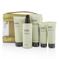 Ahava Deadsea Water Mineral Body Kit: Shower Gel + Body Exfoliator + Body Lotion + Hand Cream + Foot Cream + Gold Bag Skincare