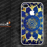 white iphone 4 case iphone 4s case iphone 4 cover with blue background and gold printing  unique Iphone case(F00339)