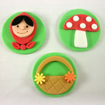 Red Riding Hood Party Cupcake Fondant Toppers, Mushroom Toppers, Basket Fondant Cookie, Red Riding Hood Baby Shower Decoration-Set of 12