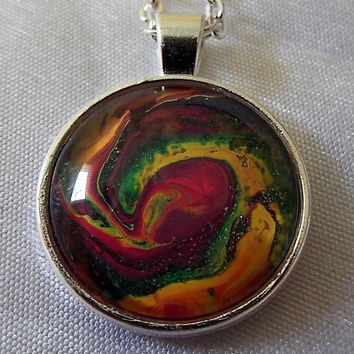 Unique Hand Crafted Swirl Multi-Color Pendant Necklace