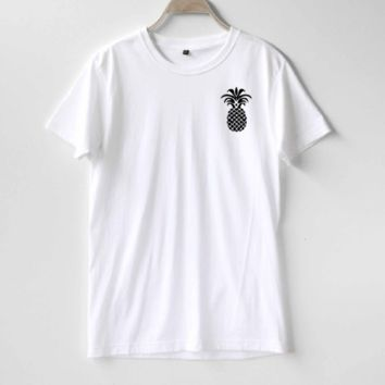 Fashion letters pineapple blouse hippie punk womens t-shirt