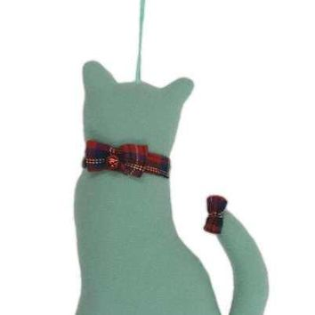 Faux Wool Cat Christmas Ornament With Bow Collar And Bow On Tail Light Cyan