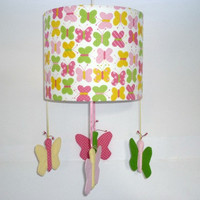 Nursery mobile, Spring time butterfly, For girl's bedroom, Children lampshade