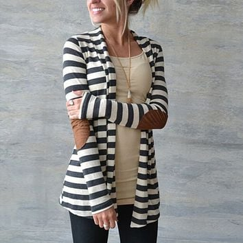 Stripes Elbow Patch Knit Cute Women Long Cardigan Ladies Sweater