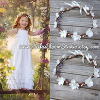 Maddie Ivory  White Flower Crown  Flower  Girl Halo Crown Toddler Flower girl crown Pearl flower crown wreath First communion crown etsy