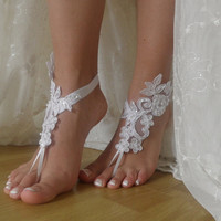 white lace Barefoot Sandals, Nude shoes, Foot jewelry,Wedding, beach wedding barefoot sandals Anklet