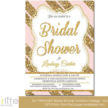 pink gold bridal shower invitation pink gold glitter stripe