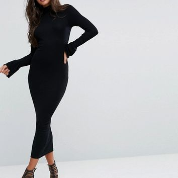 ASOS City Maxi Rib Bodycon Dress with Turtleneck and Frill Cuffs at asos.com