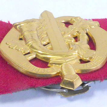 Vintage Dutch Military Insignia, Raised Sword, French Horn, Oak Leaves  Goldtone/Brass, Beret Pin