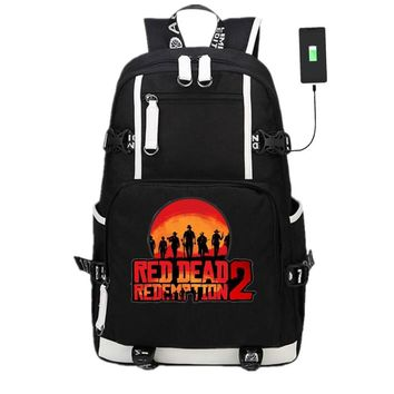 New Game Red Dead Redemption 2 Backpack Laptop Shoulder Travel Bags Cosplay Anime Knapsack Packsack School Student Bag Otaku