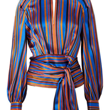 Petar Petrov - Open-back striped silk-satin wrap blouse