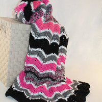 Afghan - Handmade Ripple Crochet Blanket - Black, Pink, White and a Multi