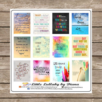 Set of 12 Inspirational / Motivational Saying Stickers   - Perfect for your Erin Condren, Plum Paper, Filofax, planner or scrapbook