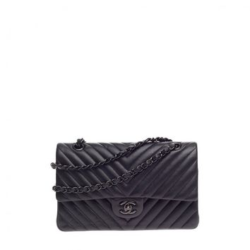 Chanel So Black Classic Double Flap Chevron Lambskin Medium